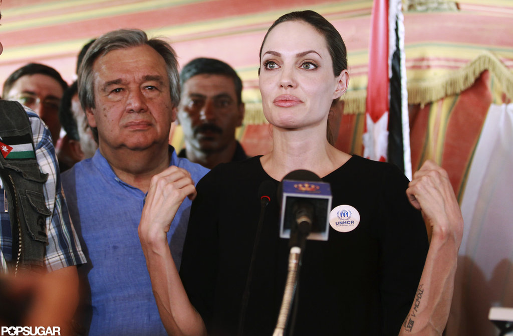 Angelina Jolie gave a speech in Jordan.