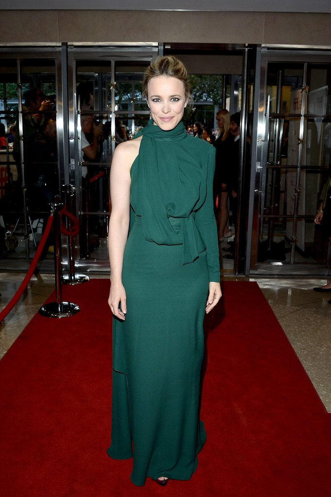 Rachel McAdams donned an elaborately draped — save for the one bare arm — Elie Saab gown to the premiere of To the Wonder.