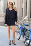 Doutzen Kroes showed off a chic blazer and shorts set.