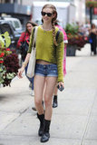 A wooly, textured sweater transforms basic denim shorts. Source: Greg Kessler
