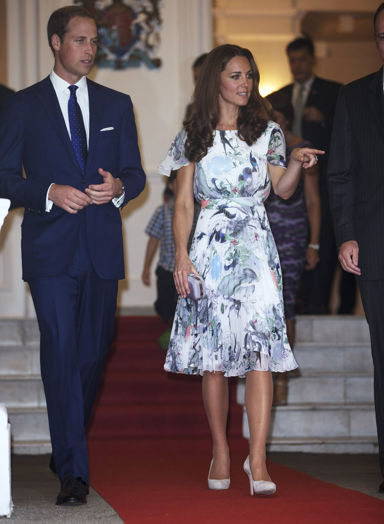 Kate Middleton wore an Erdem dress to attend a dinner with Prince William in Singapore.