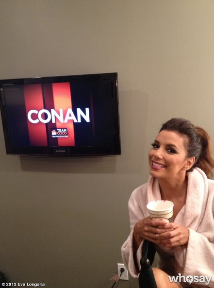 Eva Longoria dropped by the Conan studios in Burbank, CA.  Source: Eva Longoria on Who Say