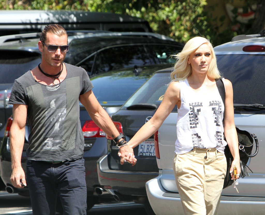 Gwen Stefani held hands with her husband, Gavin Rossdale, as they went into the studio together.