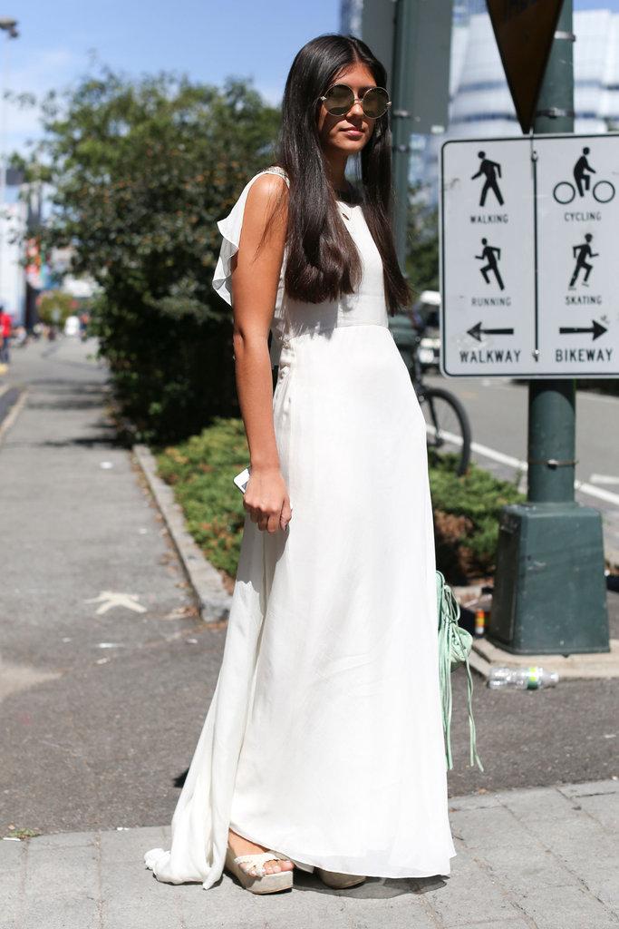A bit of a drama-inducing, feminine white maxi.