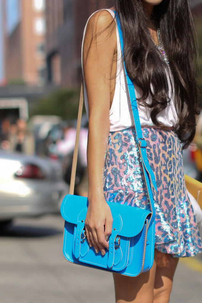 A sky-blue Cambridge Satchel looked sweet against sequins.
