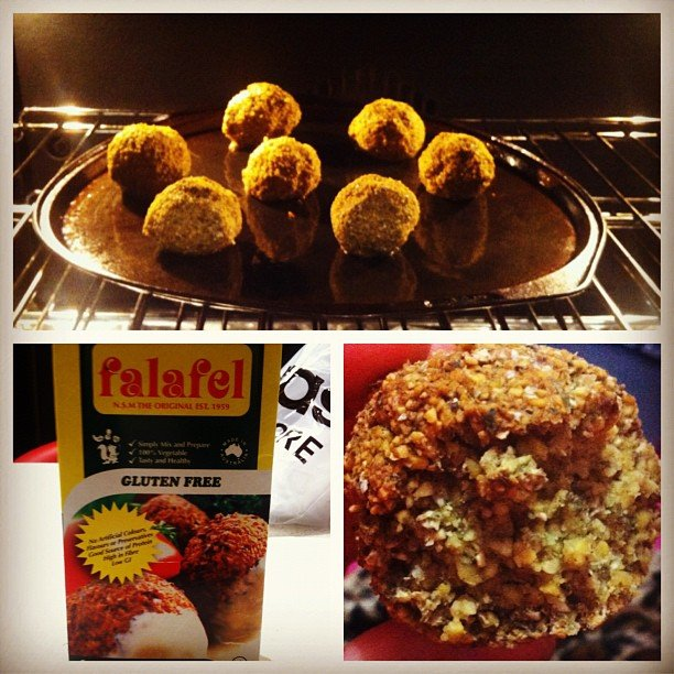 At 40 calories a piece, baked falafel balls are an easy way to get a protein fix during the afternoon. Not to mention — gluten free! Source: Instagram User meliissalala