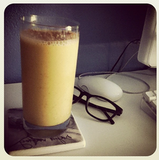 Instead of a big piece of carrot cake, try this smoothie instead: carrot juice, almond milk, Greek yogurt, honey, cinnamon, nutmeg, frozen, pineapple, banana, ice, flax. Source: Instagram User  rosiecorona