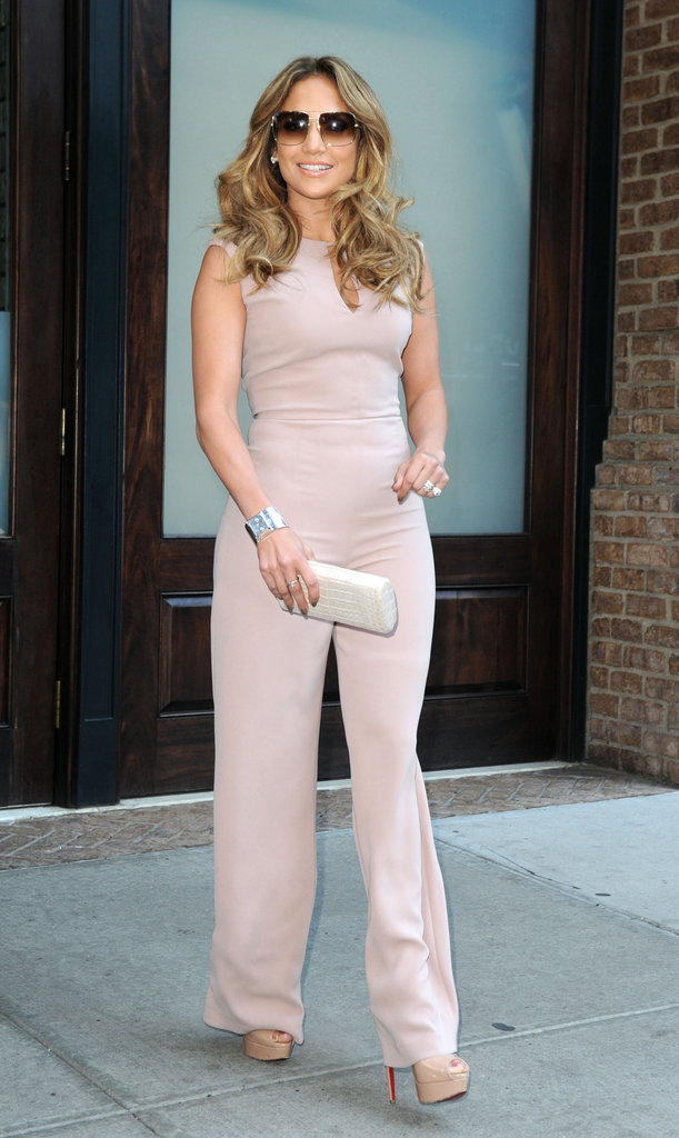 Jennifer Lopez strutted her stuff in a jumpsuit in NYC.