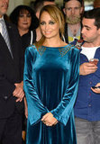 Nicole Richie wore a blue velvet dress in NYC.