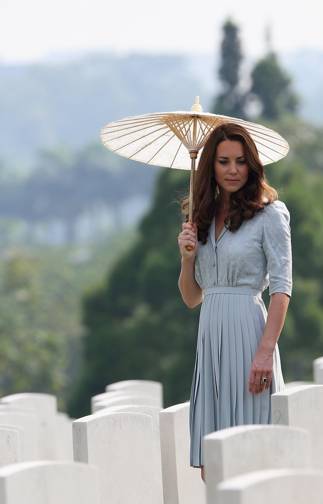 Kate Middleton wore a Jenny Packham dress to visit grave sites at a memorial in Singapore.