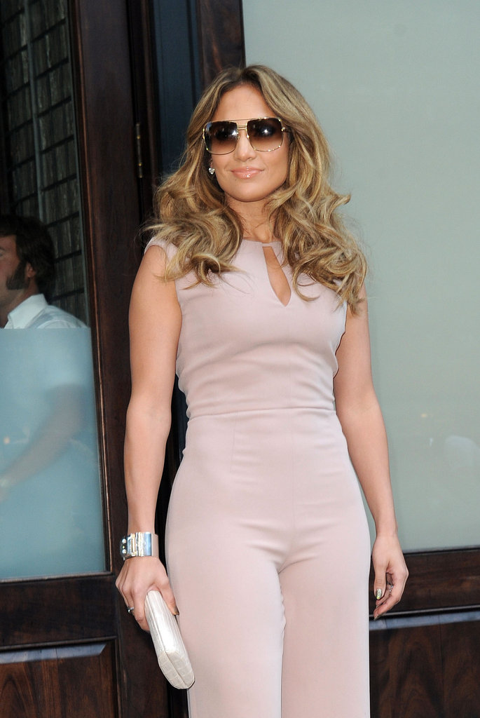 Jennifer Lopez wore a light pink jumpsuit out in NYC.