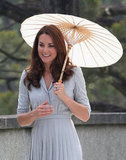 Kate Middleton visited the Kranji War Memorial with a white parasol.
