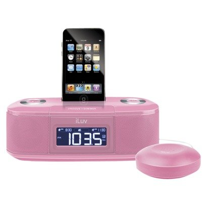 For those who just can't seem to roll out of bed in the morning, the iLuv Vibe Dual Alarm Clock ($38) has a solution: the bed shaker. The pink system also features 10 programmable radio stations, an LCD dimmer, and a dock for your iPhone.