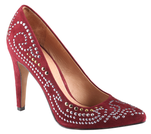 If you can only have one statement pump this season, this is it.  Aldo Peak Pumps in Bordeaux Suede ($100)