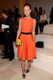 Olivia Wilde slipped into a bright fit-and-flare dress for Ralph Lauren's show.