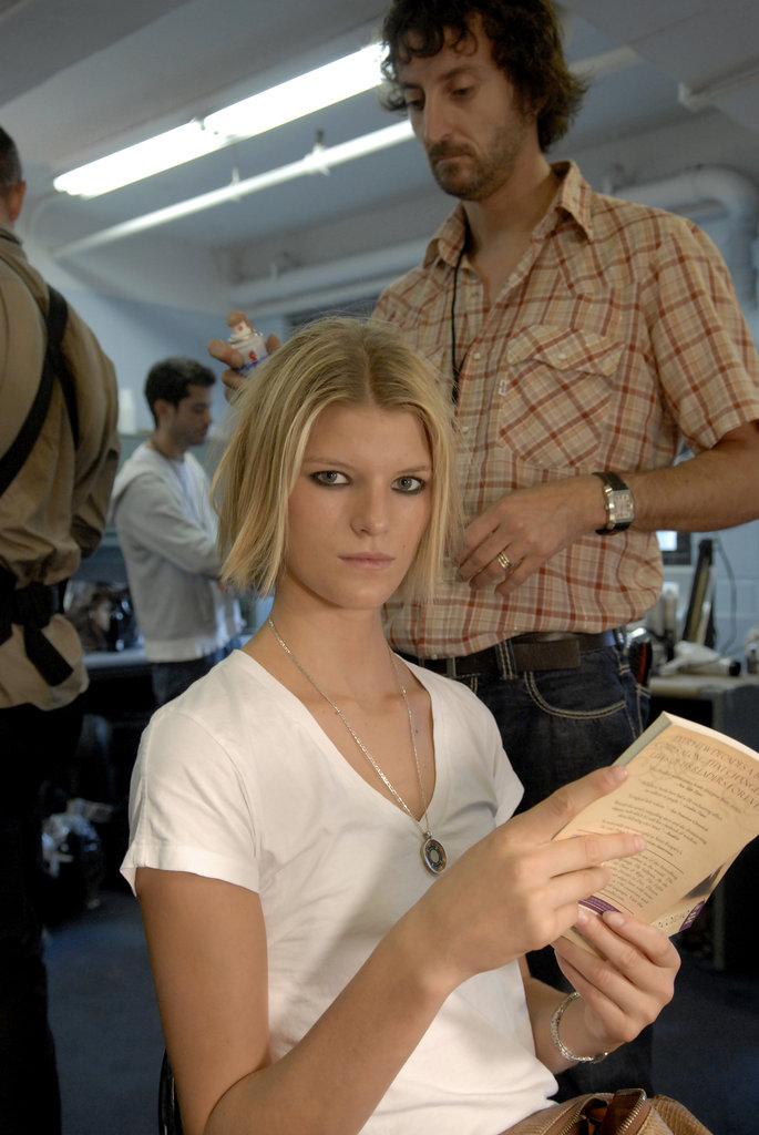 Model Madeleine Blomberg looked up from her book — The Alchemist by Paulo Coelho and Alan R. Clarke — at the Luella Bartley Spring 2007 show during Olympus Fashion Week in NYC.