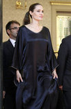 Angelina Jolie kept it simple in a long black dress.
