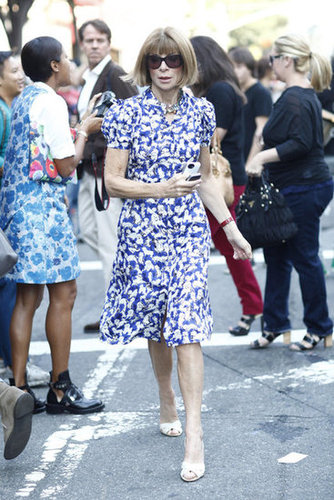 Anna Wintour didn't break from her sophisticated signature, choosing a printed dress and those staple Manolos.  Source: Greg Kessler
