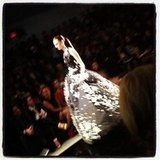 Light danced across the embellishments on Reem Acra's ball gown.