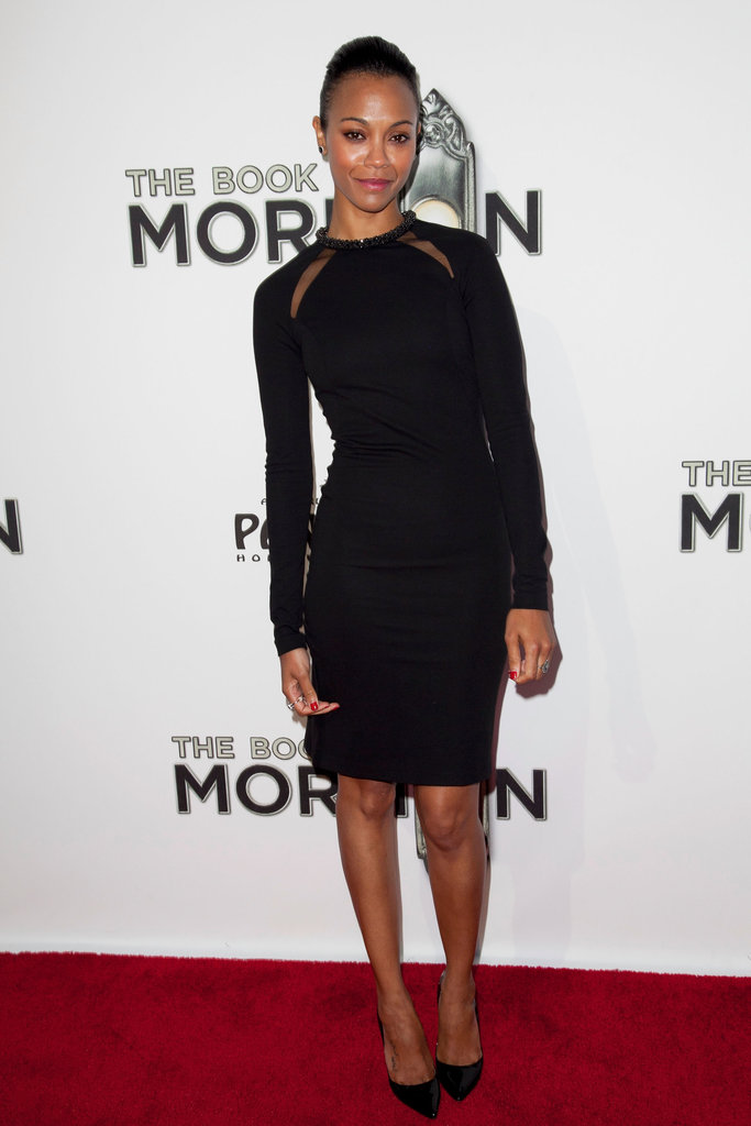 Zoe Saldana opted for sleek Stella McCartney at the premiere of The Book of Mormon in LA.