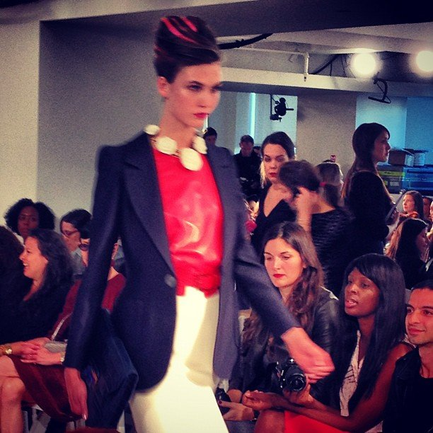 Karlie Kloss got things started with her signature stare at Oscar de la Renta's Spring '13 show.
