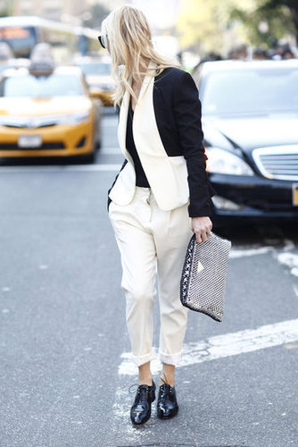 This styler showed off bold black and white suiting in an easy, slouchy silhouette. Source: Greg Kessler
