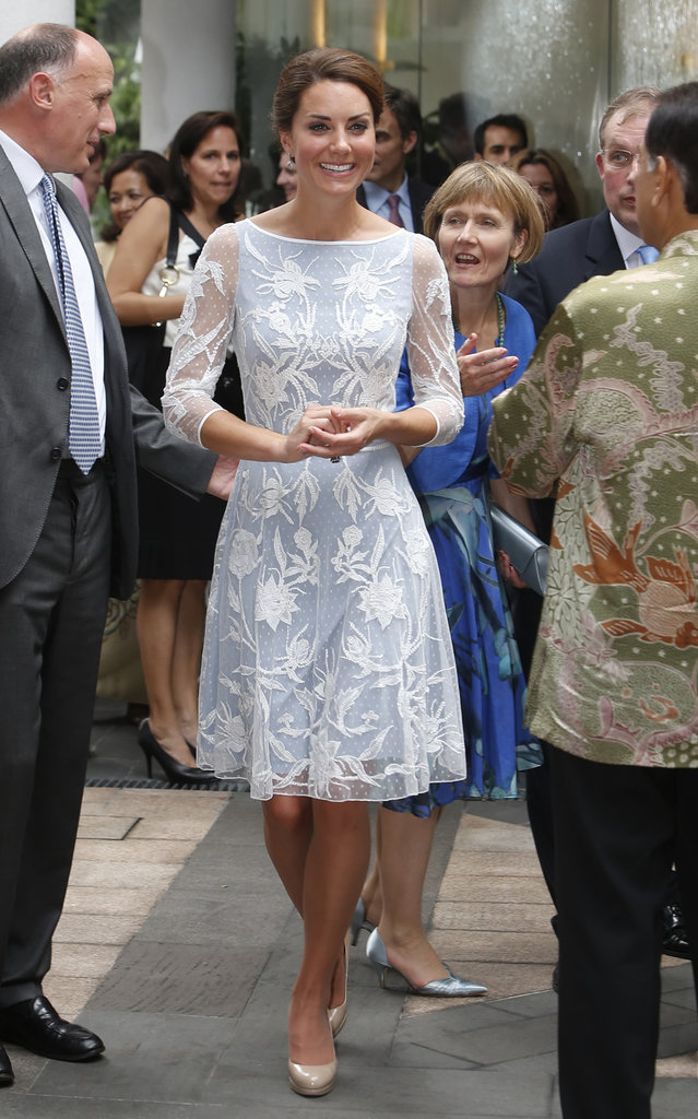 Keeping with the trend of pale blues, Kate donned yet another version of the colour — this time with a sheer flower appliqué overlay. For day four of the Diamond Jubilee tour, her Temperley London dress proved a pretty daytime option.