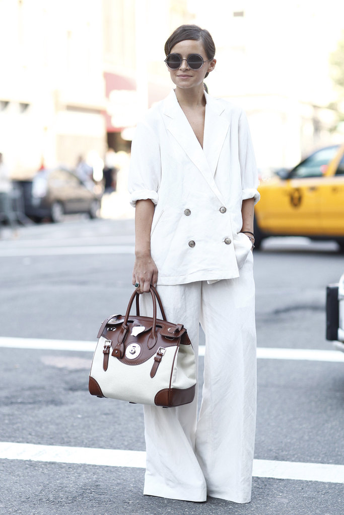 We adore Miroslava Duma's chic suiting and round shades.