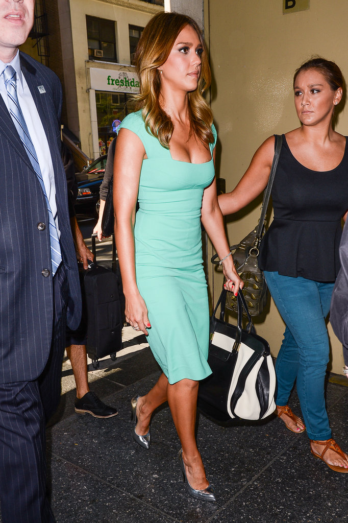 Jessica Alba glowed in a fitted turquoise sheath on her way to the Today show.