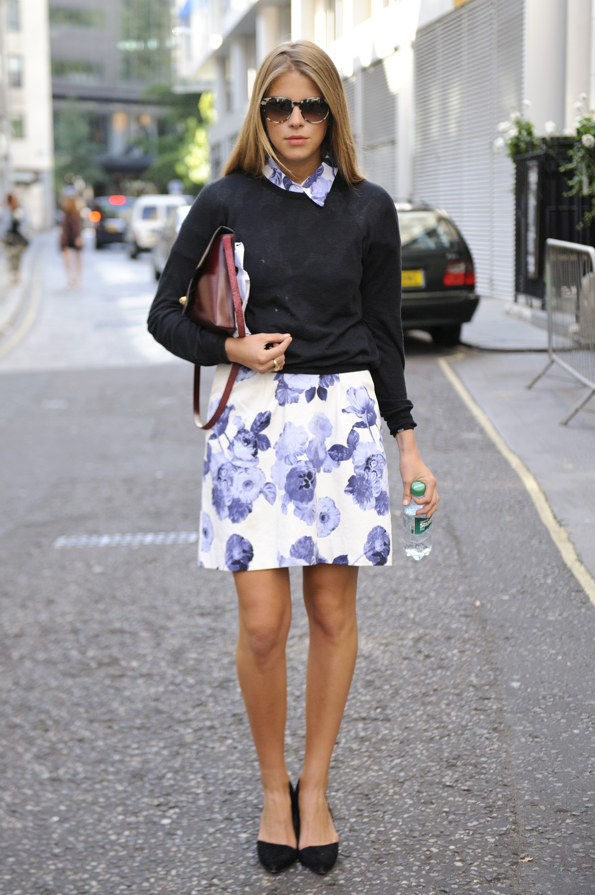 The collared blouse and sweater set never gets old, especially when you've got pretty floral prints to boast, too.