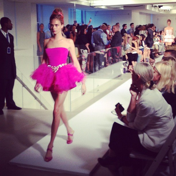 Cara Delevigne strutted her stuff in a hot pink tutu. Source: Instagram user rumineely