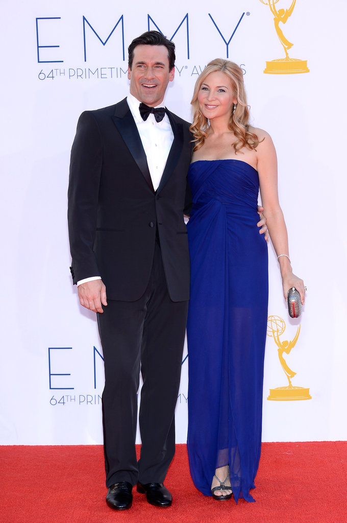 Nominee Jon Hamm stayed close to his long-time girlfriend, Jennifer Westfeldt.