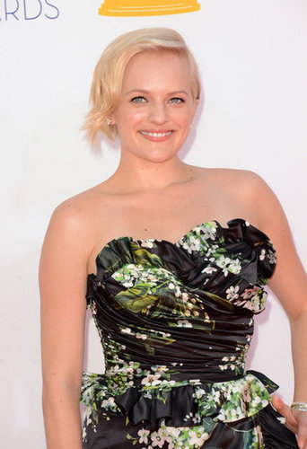 Elizabeth Moss wore a floral gown to the Emmy's.