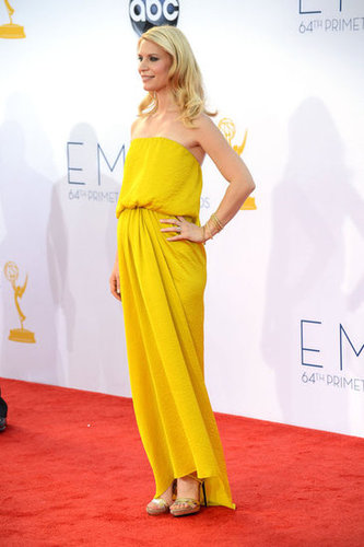 Pregnant Claire Danes wore a yellow Lanvin number to the Emmys.