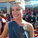 Hayden Panettiere went with a pulled back hairstyle for the red carpet.  Source: Instagram user usatoday
