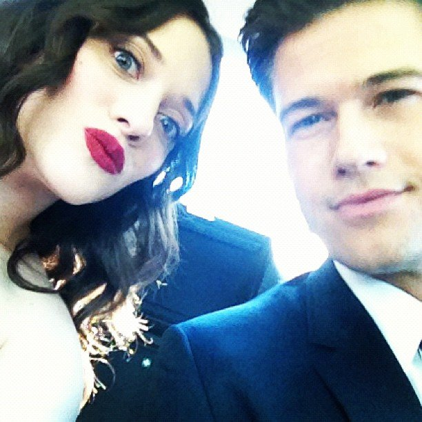 Kat Dennings and date Nick Zano shared a personal moment on the way to the Emmys.  Source: Instagram user katdennings