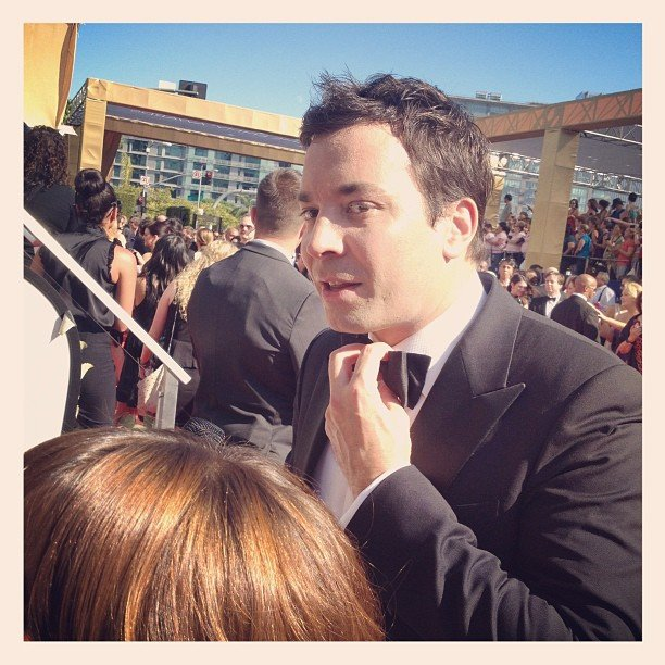 Jimmy Fallon loosened his tie a little as the temperature soared on the red carpet. Source: Instagram user entertainment_weekly