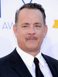 Tom Hanks showed off a mustache on the red carpet at the Emmy Awards.