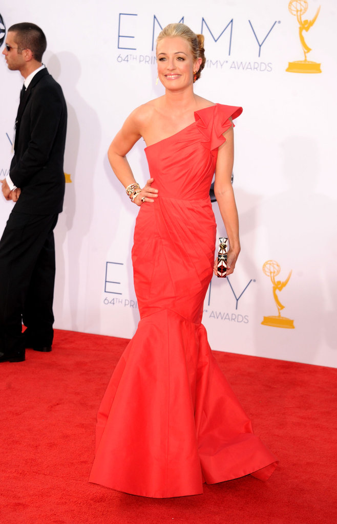 Cat Deeley wore a bright gown to the Emmy Awards.