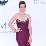 Tina Fey, mom to Alice, 7, and Penelope, 1, wore a formfitting plum Vivienne Westwood gown at the Emmys.