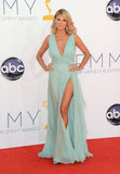 Heidi Klum showed off her legs in a sheer Alexandre Vauthier gown.