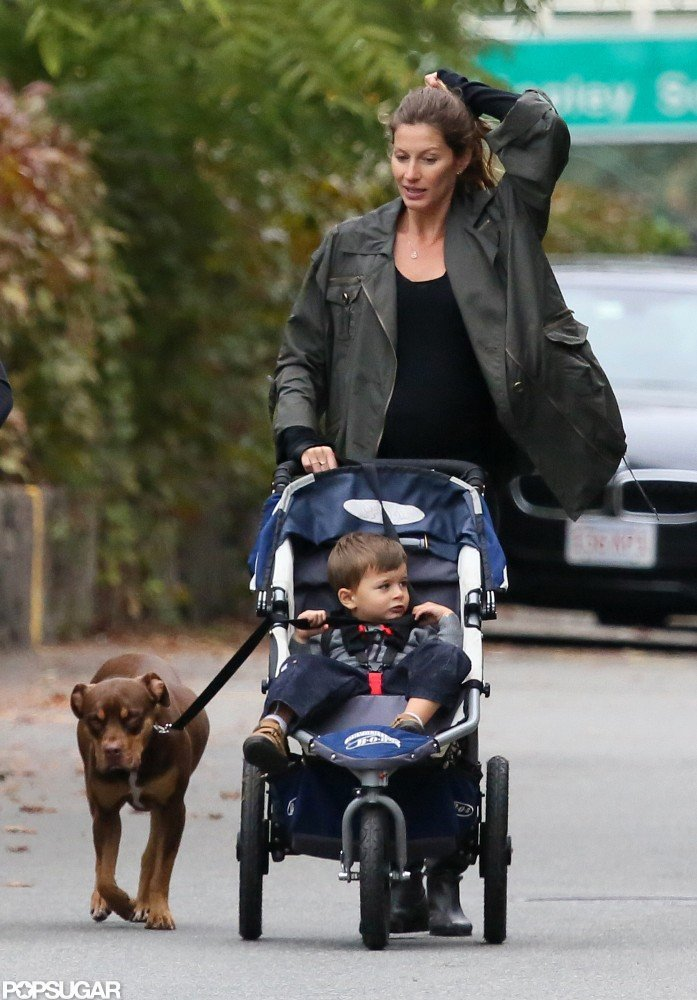 Gisele Bundchen Bumps Around Boston With Ben While Tom Hits the Field