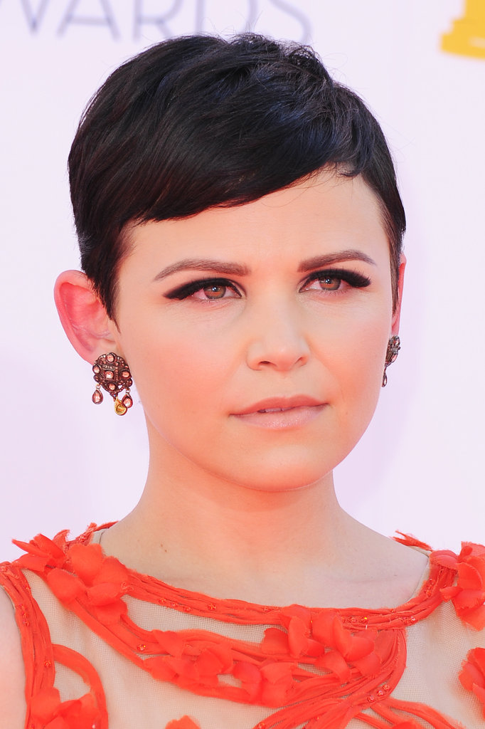 Ginnifer Goodwin wore earrings to match her Monique Lhuillier gown at the Emmys.
