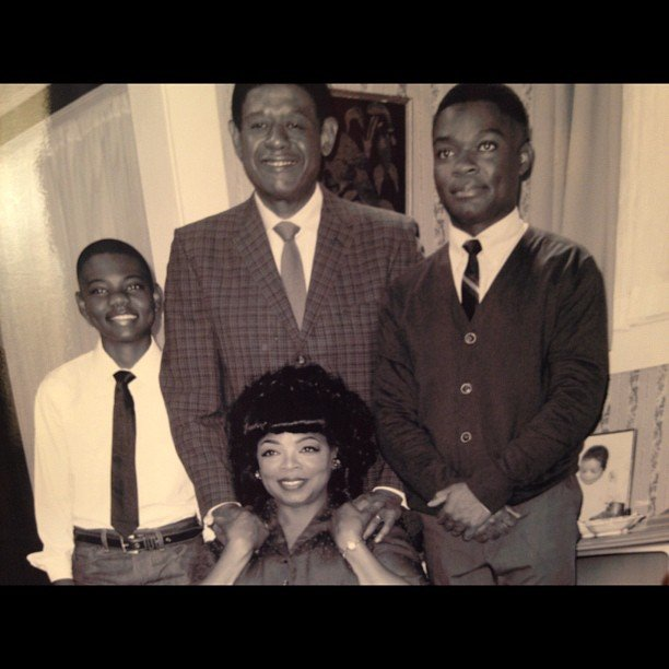 "Oprah shared a picture of her and her ""movie family"" from The Butler. Source: Instagram user oprahwinfrey"