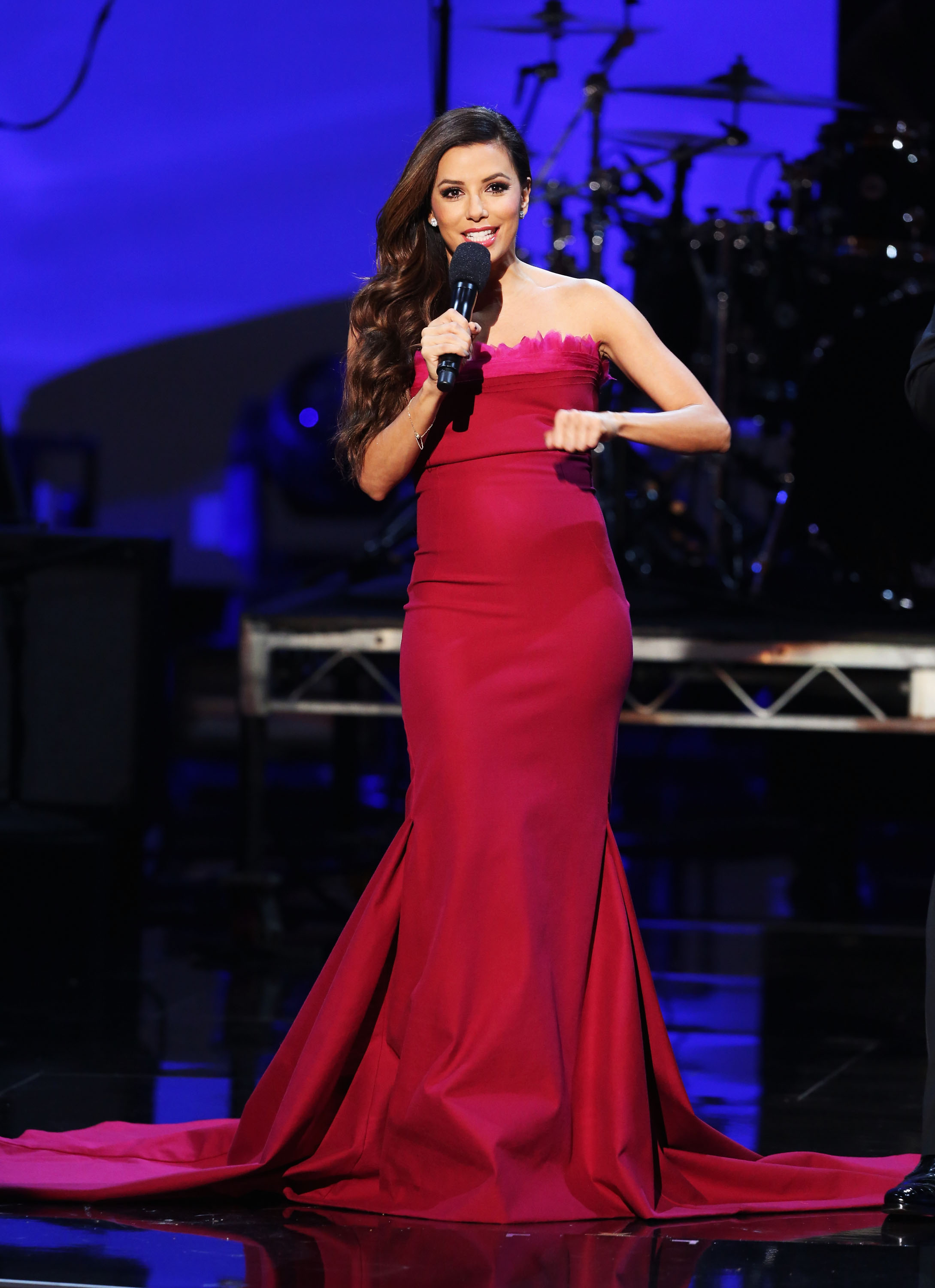 Eva Longoria wore a magenta gown for one of her many outfits at the ALMA Awards in LA.