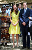 Kate Middleton and Prince William were greeted in the Solomon Islands.