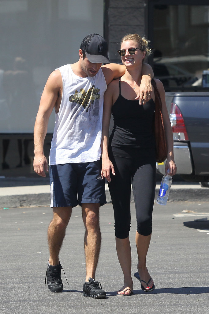 Emily VanCamp and Josh Bowman chatted as they left the gym.