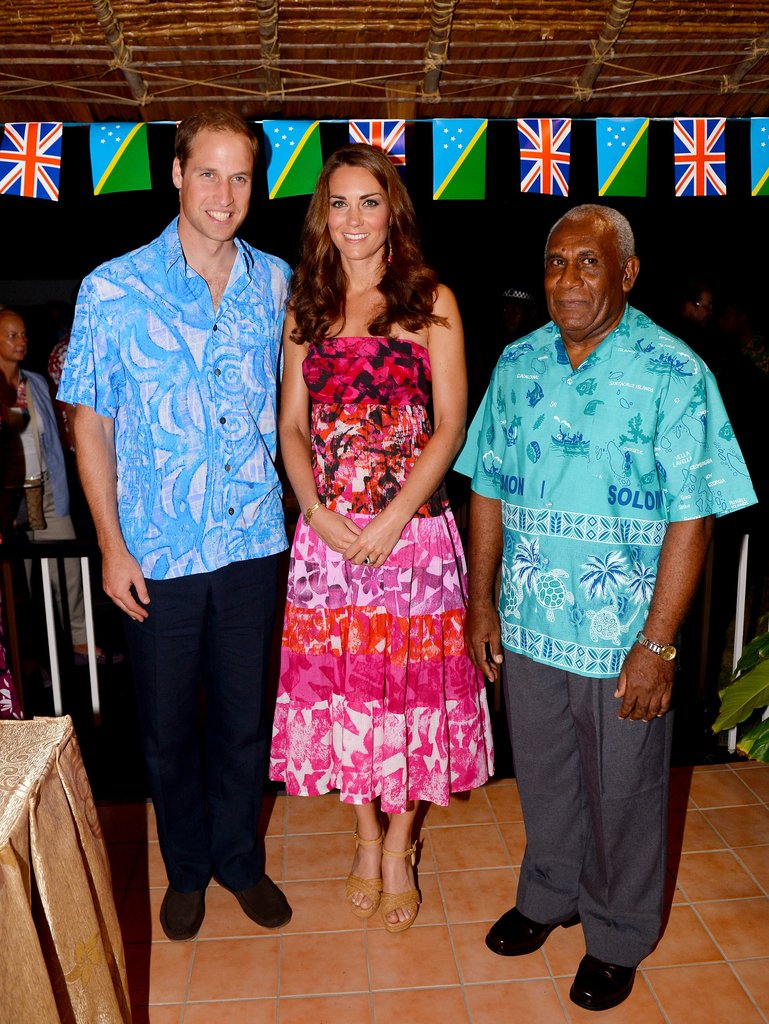 Kate Middleton was gifted this beautiful pink batik-print strapless dress upon arriving to the Solomon Islands — it totally embodies the fun fearless vibe of island style. Lest we forget, Prince William also rocked a bit of print for the festivities.