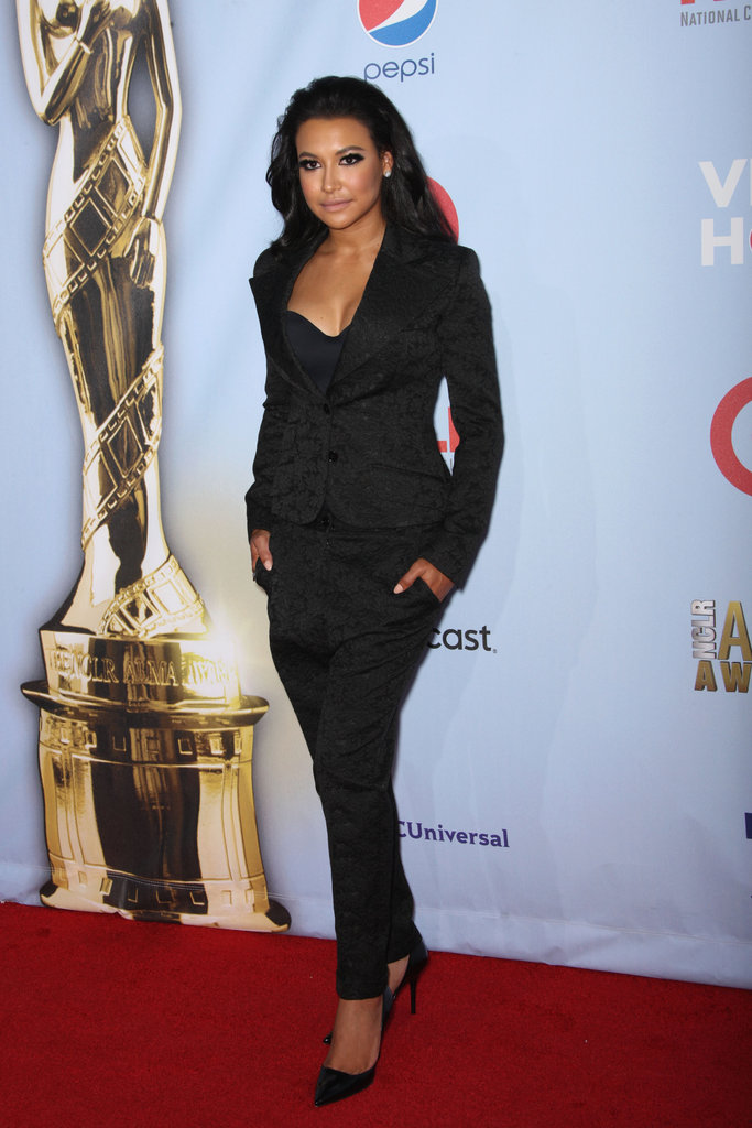 Naya Rivera opted for a sexy take on suiting, which she played up with a dramatic, sultry eye and a pair of pointy-toe pumps.