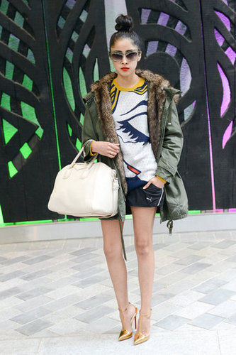 Blogger Denni Elias styled a 3.1 Phillip Lim sweater with a fur-lined parka and metallic gold pumps.